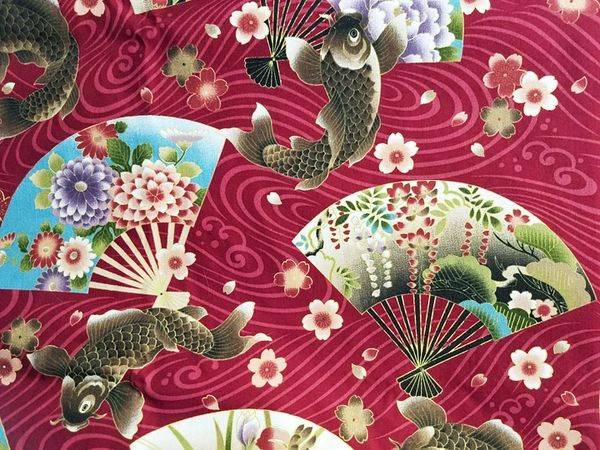 M'doridori Fabric Gift Wrap in Burgundy Koi