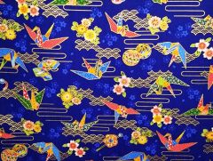 M'doridori Fabric Gift Wrap in Royal Origami Crane