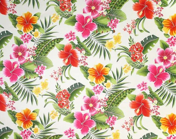 100% COTTON - CREAM HIBISCUS - $5.50 PER YARD