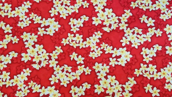 100% COTTON - RED PLUMERIA - $5.50 PER YARD