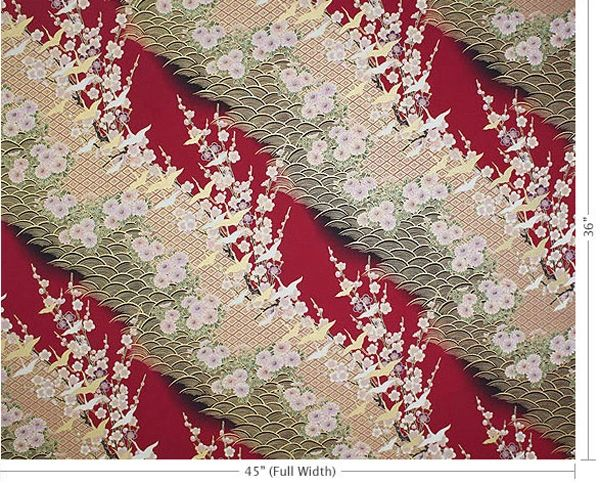 100% COTTON - RED CRANE W/GOLD HIGHLIGHTS - $5.50 PER YARD