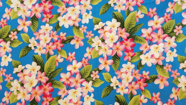100% COTTON - AQUA PLUMERIA - $5.50 PER YARD