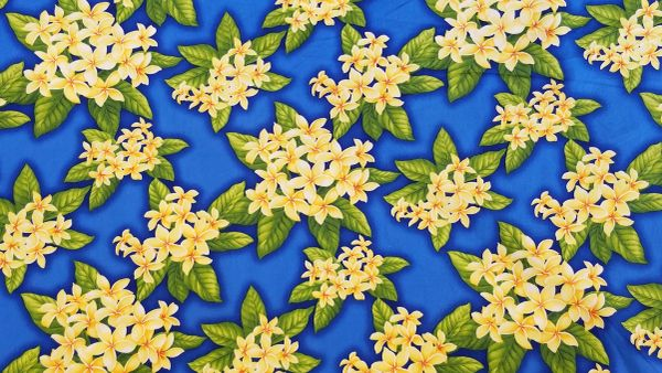 100% COTTON - BLUE PLUMERIA - $5.50 PER YARD
