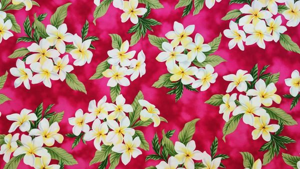 100% COTTON - MAGENTA PLUMERIA - $5.50 PER YARD