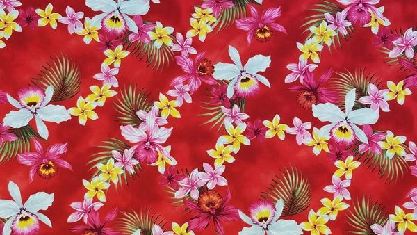 100% COTTON - RED ALOHA - $5.50 PER YARD