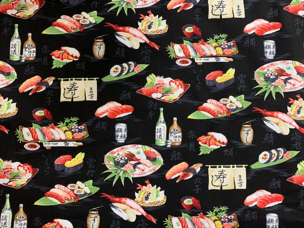 100% COTTON - BLACK SUSHI - $5.50 PER YARD