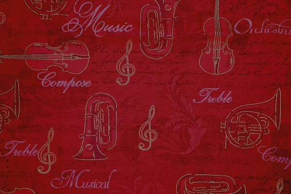 M'doridori Fabric Gift Wrap in Red Music