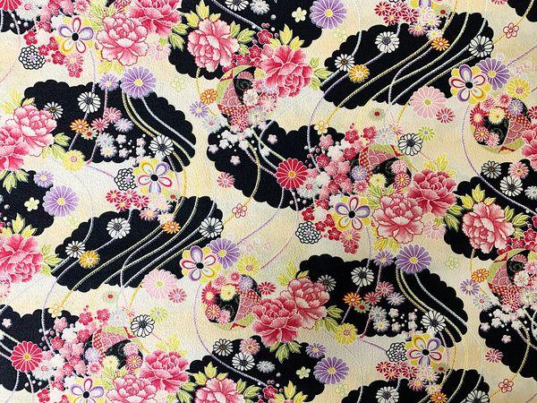 M'doridori Fabric Gift Wrap Black Floral Chirimen *Special Series*