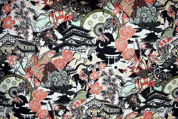 M'doridori Fabric Gift Wrap in Geisha Print