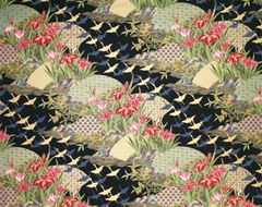 M'doridori Fabric Gift Wrap in Asian Black Gold Crane
