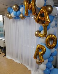 personalised photo both balloon hire london with personalised balloon garland