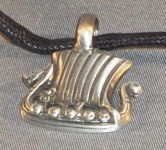 Viking Dragon Ship Pewter Pendant on Neck Cord