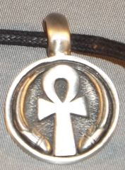 Ankh Round Pewter Pendant on Neck Cord