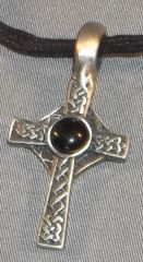 Celtic Cross with Black Cabochon Pewter Pendant on Neck Cord