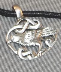 Celtic knot Raven Pewter on Neck Cord