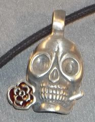 Celtic Skull with Rose Pewter Pendant on Neck Cord