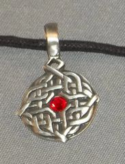 Celtic Round Diamond with Stone Pewter Pendant on Neck Cord