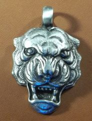 Tiger Head Pewter Pendant on Neck Cord