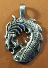 Dragon Head Pewter Pendant on Neck Cord