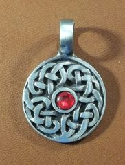 Celtic Round Shield with Stone Pewter Pendant on Neck Cord