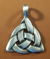Charmed Triquetra Smooth Pewter Pendant on Neck Cord