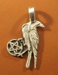 Raven with Pentagram Pewter Pendant on Neck Cord