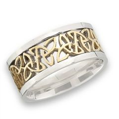 STAINLESS STEEL CELTIC RING WITH GOLD TRIQUETRA