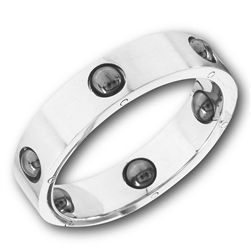 STAINLESS STEEL BAND RING WITH HEMATITE BALLS