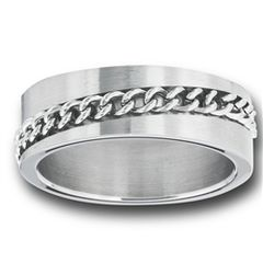 STAINLESS STEEL RING WITH CHAIN SPINNER