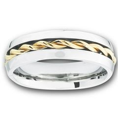 STAINLESS STEEL RING WITH GOLD TWIST