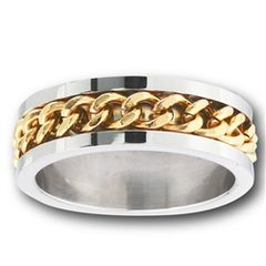 STAINLESS STEEL RING WITH GOLD IP CHAIN