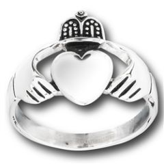 STAINLESS STEEL MENS CLADDAGH RING