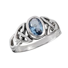 STERLING SILVER CELTIC RING WITH SYNTHETIC BLUE TOPAZ