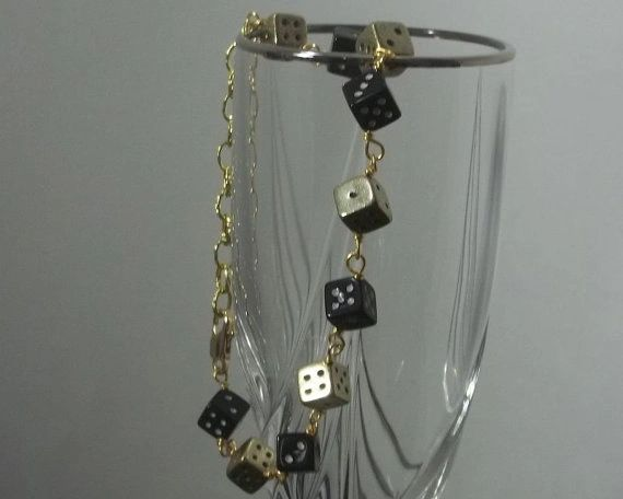 Black and Gold-tone 6 Sided Dice Bracelet