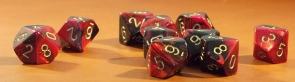 Chessex Gemini Black-Red w/gold Set of Ten d10 Dice