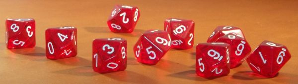 Chessex Translucent Red with white Set of Ten d10 Dice