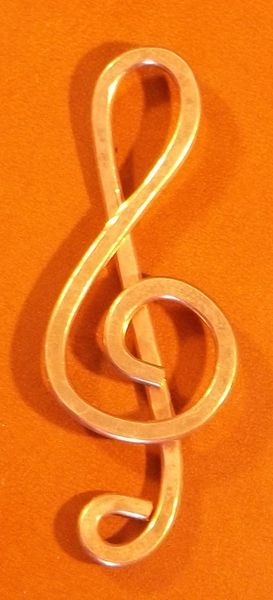 4 Pack Hand Hammered Treble Clef Paper Clip
