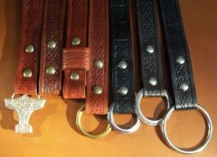 Embossed Leather Belt with Snaps