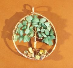 Copper Tree of Life Pendant with Stone Leaves and Rocks