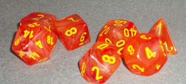 Chessex Ghostly Glow Polyhedral 7-Die set