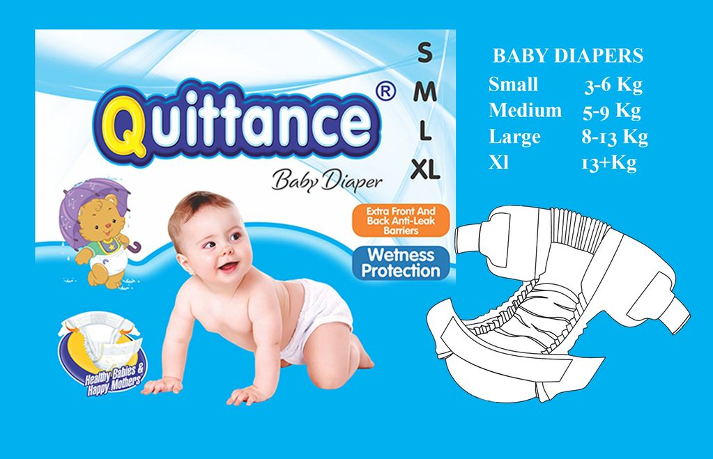 Quittance Baby Diaper Small Quick Absorption, Soaks Wetness & Keeps Your Baby Dry 8 to 12 hours.