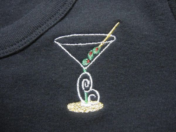 Martini glass embroidered t-shirt