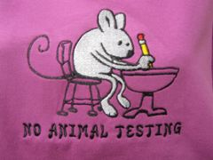 Ladies t-shirt embroidered with No Animal Testing