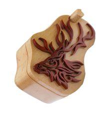 Deer Tribal Art Wooden Secret Puzzle Box