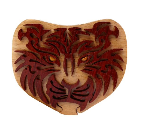 Siberian Tiger Tribal Art Intarsia Puzzle Box