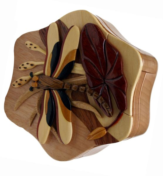 Dragonfly Handmade Puzzle Box with Compartment