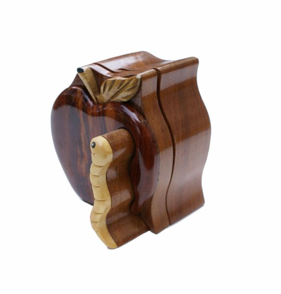 Apple & Worm Wooden Secret Puzzle Box