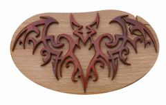 Bat Tribal Art Wooden Secret Puzzle Box