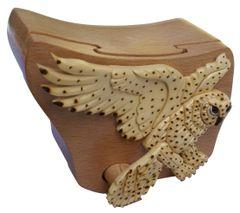 Snow Owl Handmade Intarsia Puzzle Box