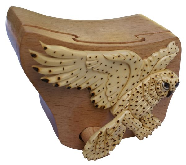 Snow Owl Puzzle Box with secret compartment